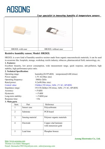 Humidity sensor-HR202L AOSONG