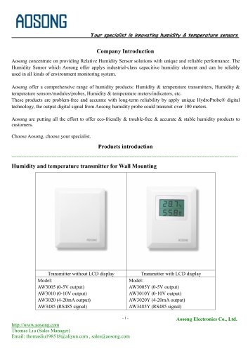 Humidity sensor/transmitter | Aosong