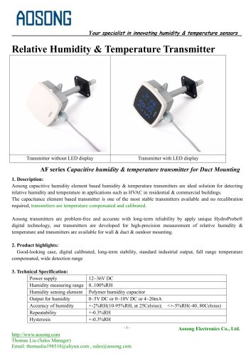Humidity & temperature transmitter-AF series AOSONG
