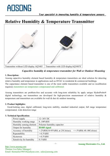 Humidity & temperature transmitter-AQ 3485 AOSONG