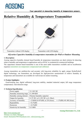 Humidity & temperature transmitter-AQ series AOSONG