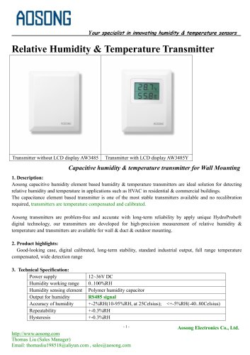 Humidity & temperature transmitter-AW 3485 AOSONG