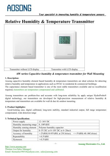 Humidity & temperature transmitter-AW series AOSONG