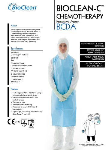 Bioclean-C Non-Sterile Chemotheraphy Protective Apron -Sleeveless