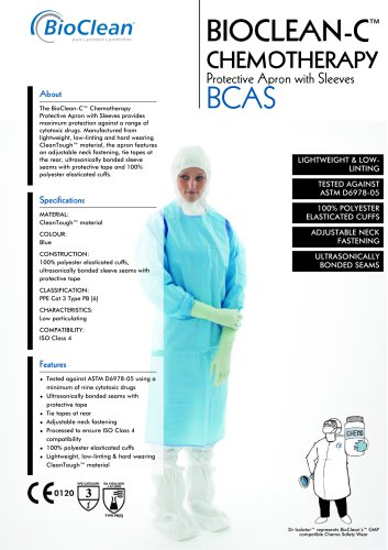 Bioclean-C Non-Sterile Chemotheraphy Protective Apron with Sleeves