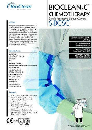 Bioclean-C Sterile Chemotheraphy Protective Sleeve Cover