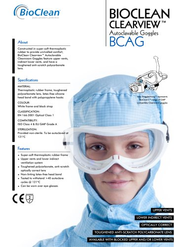 Bioclean Clearview Autoclavable Goggles
