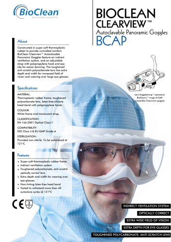 Bioclean Clearview Autoclavable Panoramic Goggles
