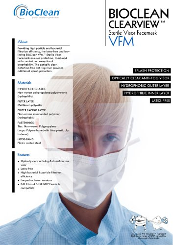 Bioclean Clearview Sterile Looped or Tie-On Visor Facemask