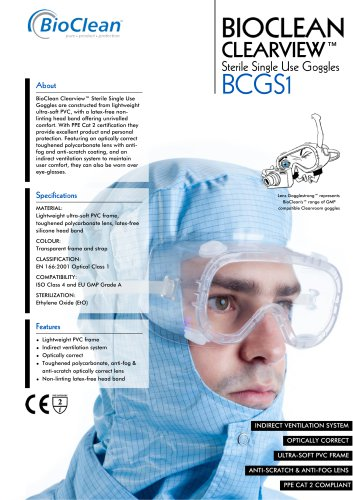 Bioclean Clearview Sterile Single Use Goggles