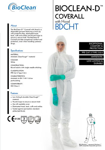 Bioclean-D Non-Sterile Coverall with Hood