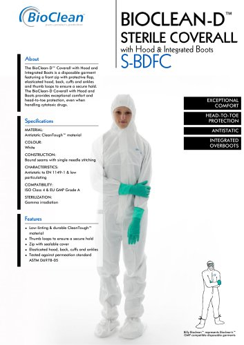 Bioclean-D Sterile Coverall with Hood and Integrated Boots