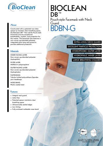 Bioclean DB Non-Sterile Pouch Style Facemask with Neck Guard