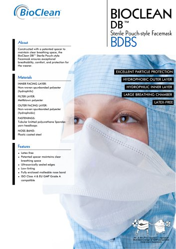 Bioclean DB Sterile Pouch-Style Facemask