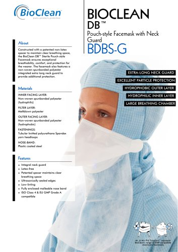 Bioclean DB Sterile Pouch-Style Facemask with Neck Guard