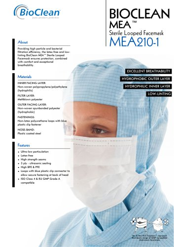 Bioclean MEA Sterile Looped Facemask