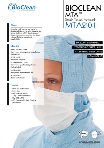 Bioclean MTA Sterile Tie-On Facemask