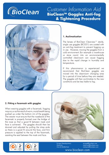 Goggles anti fog and tightening procedure