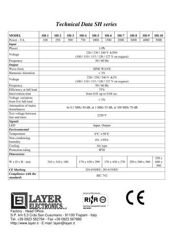 Voltage Stabilizers SH series