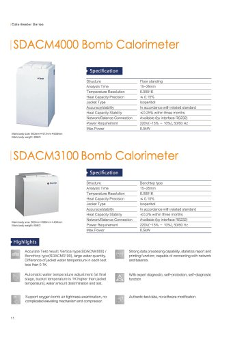 Bomb calorimeter 3100 and 4000