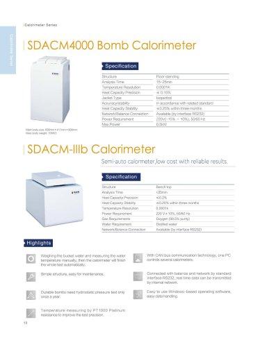 SDACM4000 and SDACM-IIIb calorimeter