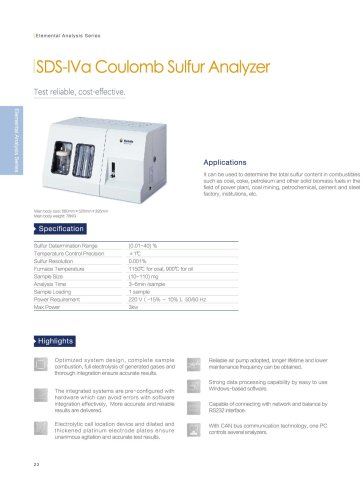 SDS-IVa coulomb sulfur analyzer
