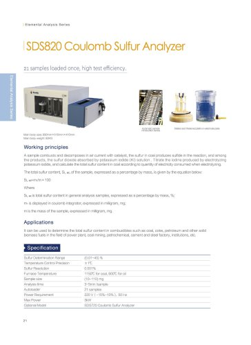 SDS820 coulomb sulfur analyzer