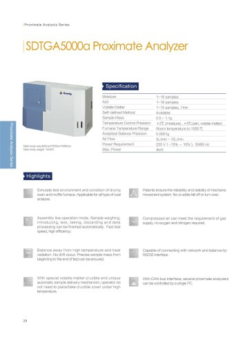 SDTGA5000a proximate analyzer