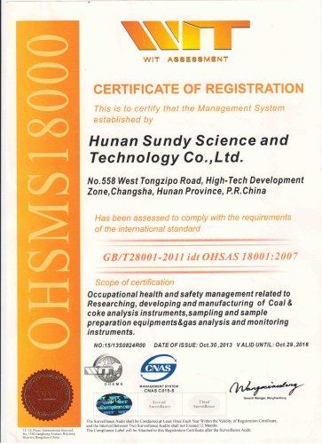 Sundy OHSAS 18001 Certification