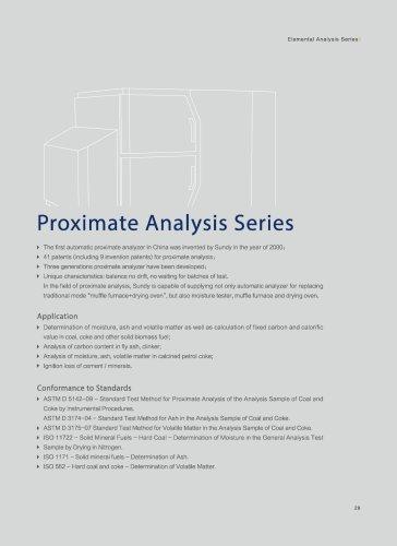 Sundy Proximate Analysis series