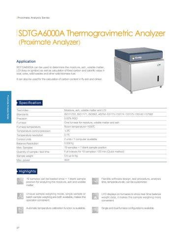 SUNDY SDTGA6000A Thermogravimetric Analyzer (TGA) Moisture / Ash/ Volatile Matter Analysis
