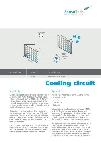 Inline analytical technology for oil or refrigerant concentration in the cooling cycle and detection of product leakages