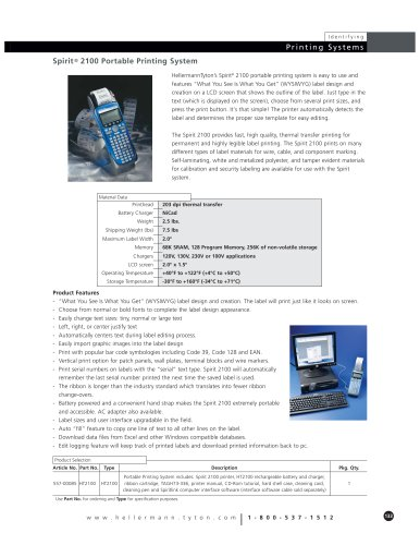 Spirit Portable Printing System and Labels