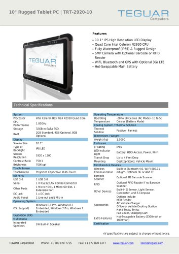 """10"""" RUGGED TABLET PC 