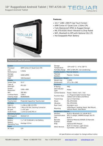 """10"""" RUGGEDIZED ANDROID TABLET 
