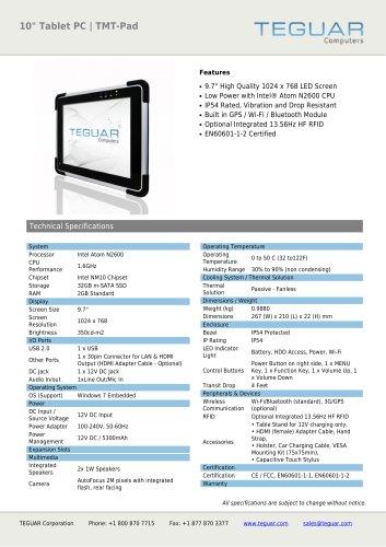 "10"" TABLET PC | TMT-PAD"