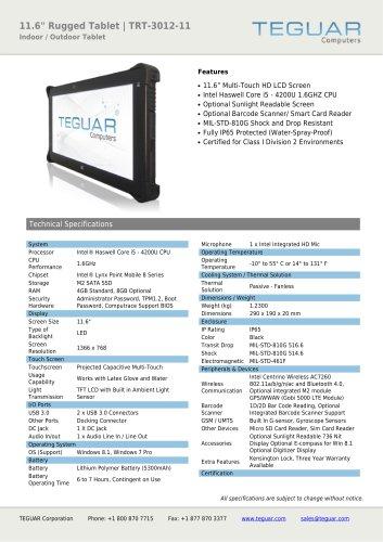 "11.6"" RUGGED TABLET | TRT-3012-11"