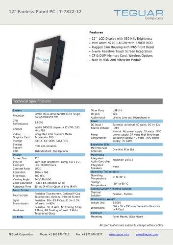 "12"" FANLESS PANEL PC | T-7822-12"