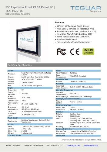 "15"" EXPLOSION PROOF C1D2 PANEL PC | TSX-1620-15"