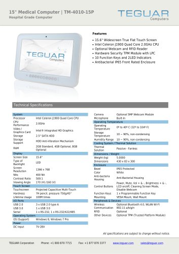"15"" MEDICAL COMPUTER | TM-4010-15P"