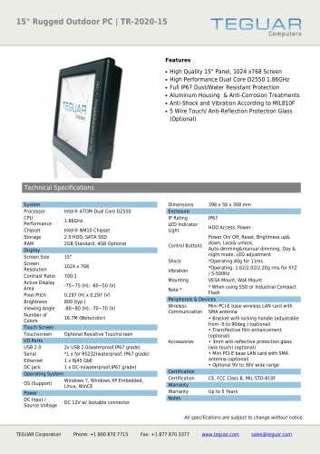 """15"""" RUGGED OUTDOOR PC 