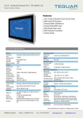 """15.6"""" ANDROID PANEL PC 