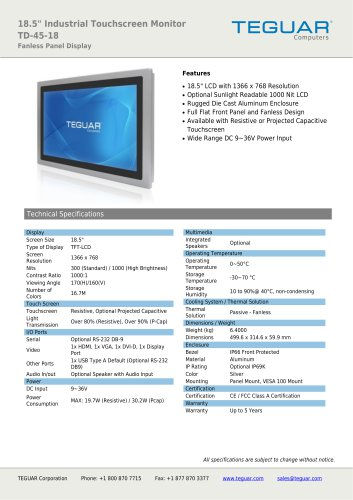 """18.5"""" INDUSTRIAL TOUCHSCREEN MONITOR 