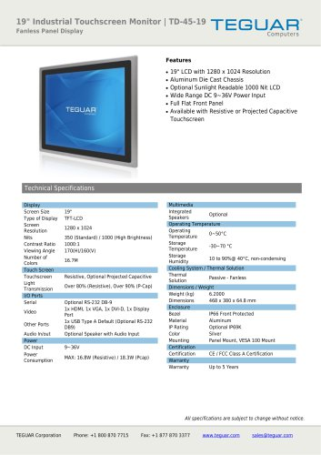 """19"""" INDUSTRIAL TOUCHSCREEN MONITOR 