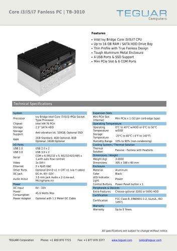 CORE I3/I5/I7 FANLESS PC | TB-3010