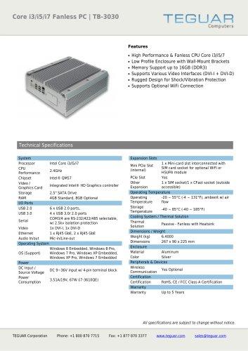 CORE I3/I5/I7 FANLESS PC | TB-3030