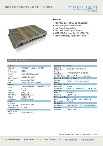 DUAL CORE FANLESS BOX PC | TB-2040