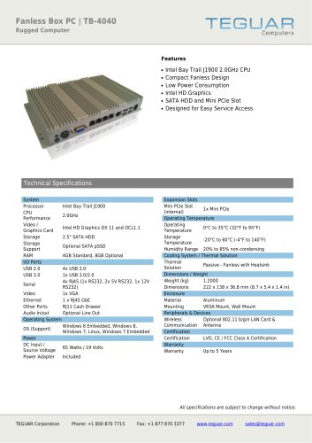 FANLESS BOX PC | TB-4040