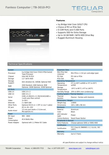FANLESS COMPUTER | TB-3010-PCI