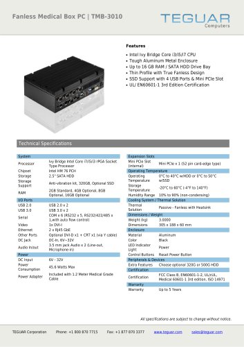 FANLESS MEDICAL BOX PC | TMB-3010